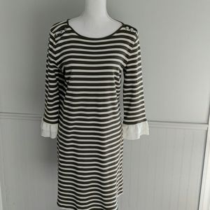 Talbots Olive/Ivory Striped Cotton Dress M